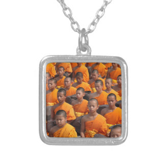 Large Group of Meditating Monks Silver Plated Necklace