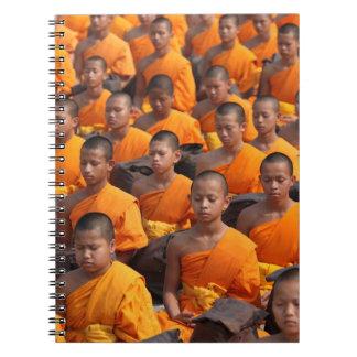 Large Group of Meditating Monks Spiral Notebook