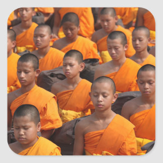 Large Group of Meditating Monks Square Sticker