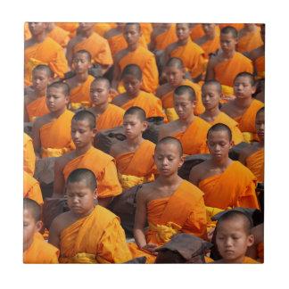 Large Group of Meditating Monks Tile