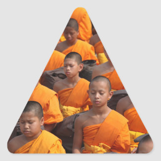 Large Group of Meditating Monks Triangle Sticker