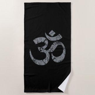 Large Grunge OM Symbol Spirituality Yoga Beach Towel