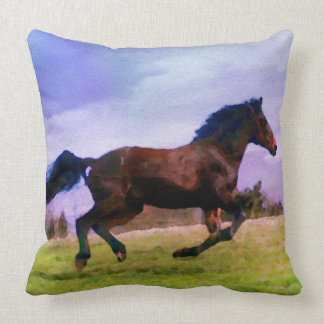 Large Horse Decorative Decor Western Painting Throw Pillow
