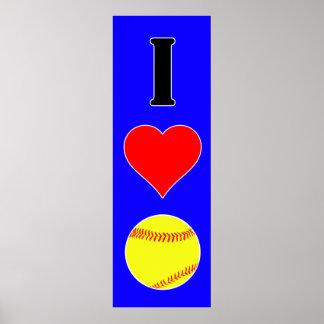 Large I Love Softball Custom Color Vertical Poster