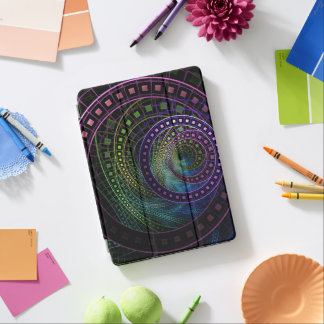 Large iPad Case with a Technicolor Fractal Rainbow iPad Pro Cover