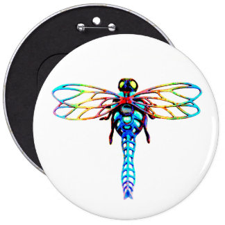 large iridescent dragonfly 6 inch round button