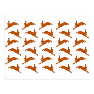 Large Leaping Hares Fawn Brown Postcard