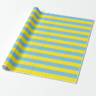 Large Light Blue and Yellow Stripes Wrapping Paper