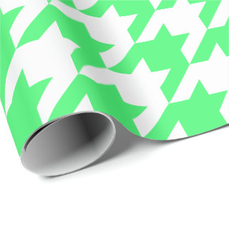 Large Light Green and White Houndstooth Wrapping Paper