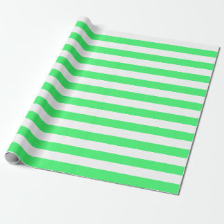 Large Light Green and White Stripes Wrapping Paper