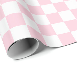 Large Light Pink and White Checks Wrapping Paper