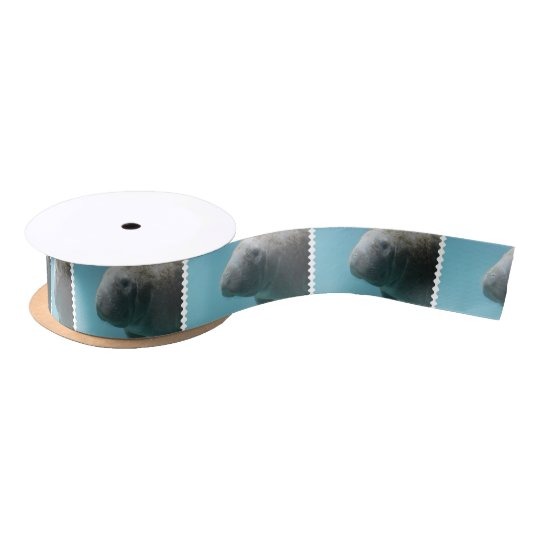Large Manatee Underwater Satin Ribbon