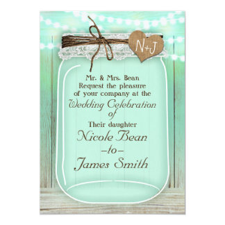 Large Mason Jar & Lights Mint Green Rustic Wedding Card