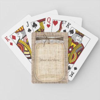 Large Mason Jar with Burlap & Lace Rustic Custom Poker Deck