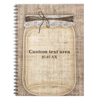 Large Mason Jar with Burlap & Lace Rustic Notebooks