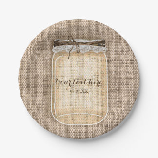 Large Mason Jar with Burlap & Lace Rustic Wedding Paper Plate
