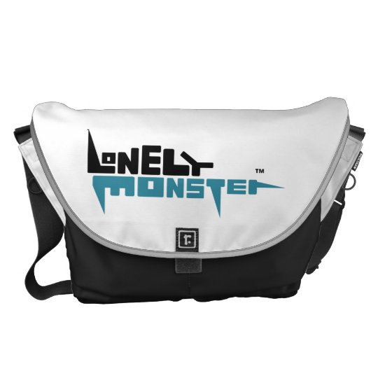 Large Messenger Bag Outside Print Black/Teal Logo
