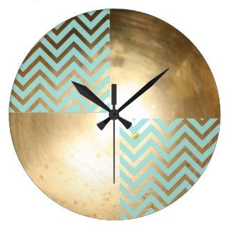 Large Mint Chevron Gold Wall  Clock