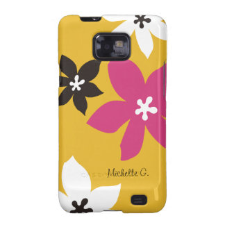 Large modern flower print personalized yellow pink galaxy SII covers