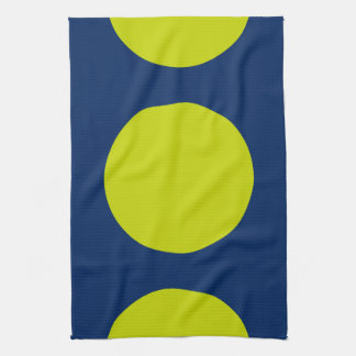 Large Modern Lime Green Dots on Navy Blue Kitchen Towel