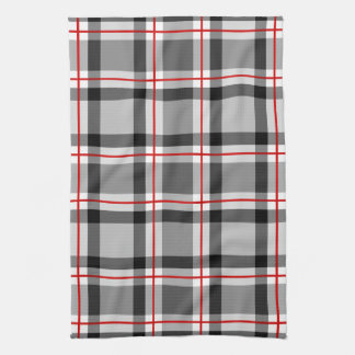 Large Modern Plaid, Black, White, Gray and Red Kitchen Towel