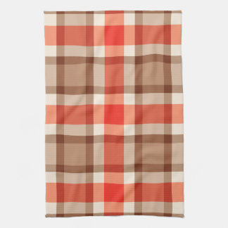 Large Modern Plaid, Coral Orange, Brown & Tan Kitchen Towel