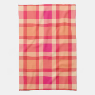 Large Modern Plaid, Orange, Coral and Fuchsia Pink Kitchen Towel