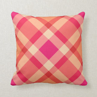 Large Modern Plaid, Orange, Coral and Fuchsia Pink Throw Pillow