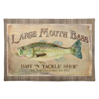 Large Mouth Bass Fisherman Cabin Wood Boards Placemat