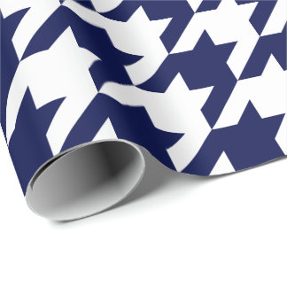 Large Navy Blue and White Houndstooth