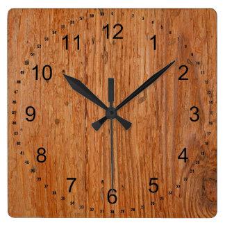 Large Oakwood Grain Square Clock