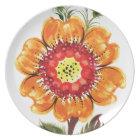 Large Orange Flower Plate