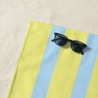 large pale blue yellow stripes monogrammed beach towel