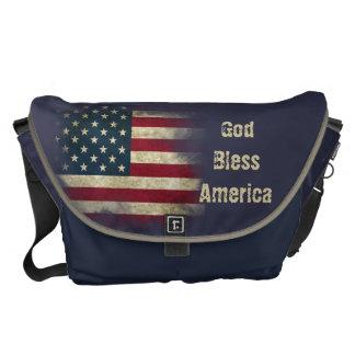 Large Patriotic US Flag. God Bless America Courier Bag