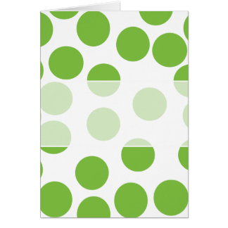 Large Pea Green Dots on White. Card