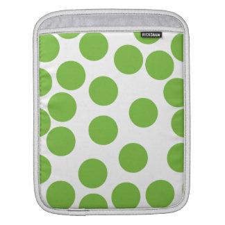 Large Pea Green Dots on White. iPad Sleeve