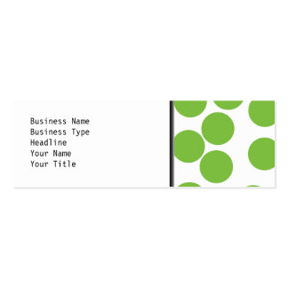 Large Pea Green Dots on White. Mini Business Card