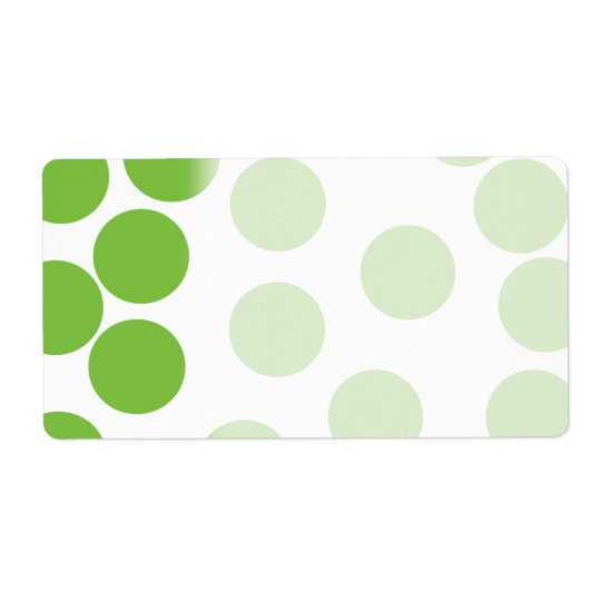 Large Pea Green Dots on White. Shipping Label