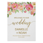 Large Peach and Pink Peony Flowers Wedding Welcome Poster