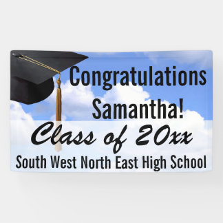 Large Personalized Graduation Banner Sign Blue Sky