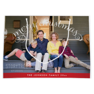 Large Personalized Merry Christmas Photo Gift Bags