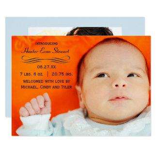 Large Photo Flourish - 3x5 Birth Announcement