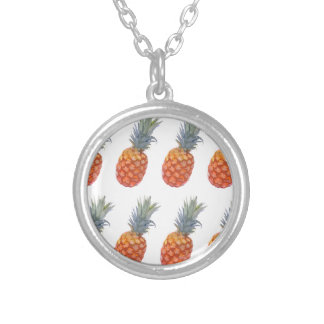 Large Pineapple Print Silver Plated Necklace