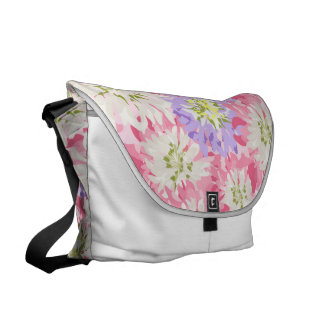Large pink and mauve flowers commuter bag