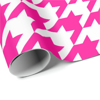 Large Pink and White Houndstooth Wrapping Paper