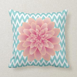 Large Pink Chrysanthemum and Turquoise Chevron Throw Pillow