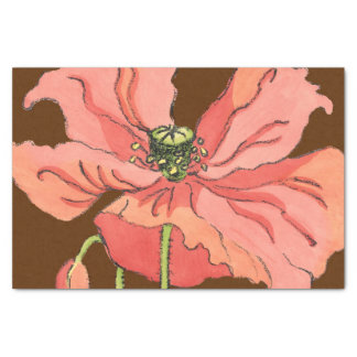 Large Pink Flower with Deep Red Background Tissue Paper