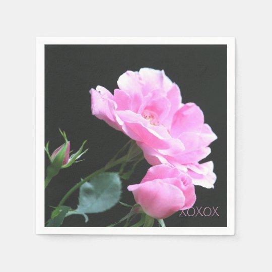 Large Pink Rose Napkins Disposable Napkin