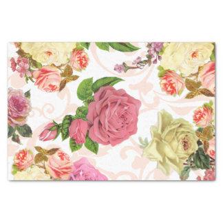 Large Pink roses vintage floral pattern Tissue Paper
