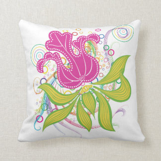 Large Pink Water Lilly Throw Pillow